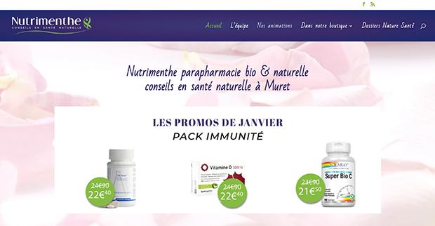 Refonte du site web Nutrimenthe - Parapharmacie bio et naturelle