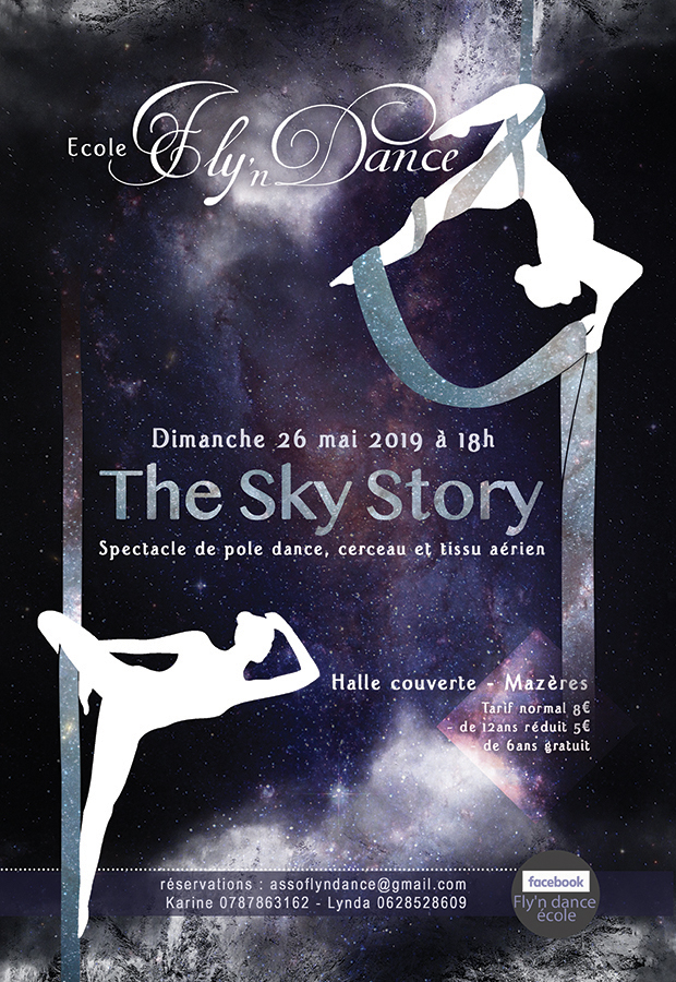 """Affiche Spectacle """" The Sky Story """" Ecole Aérienne Fly'n Dance"""